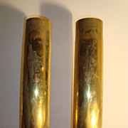 Pair of French WWI Trench Art Artillery Shells Shield dated 1916