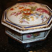 Large French porcelain Limoges box trinket signed
