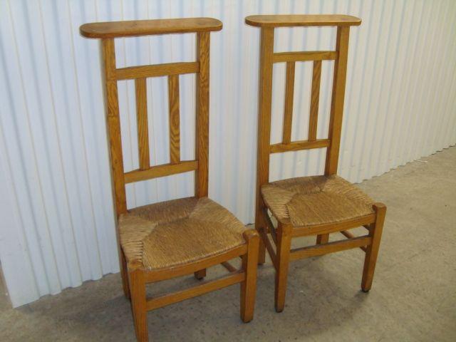 Pair of French prayer chairs with rush seat circa 1870