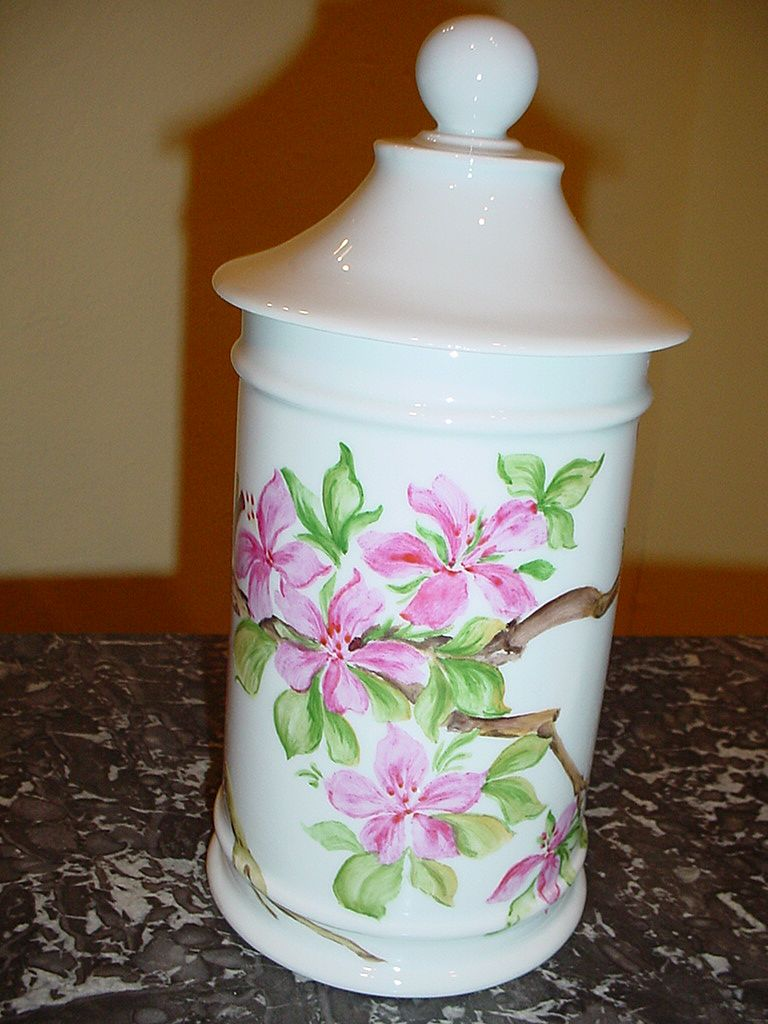 French porcelain Apothecary pot signed by artist