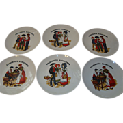 Set of 6 French Alsatian porcelain choucroute sauerkraut diner plates 9.5 inches