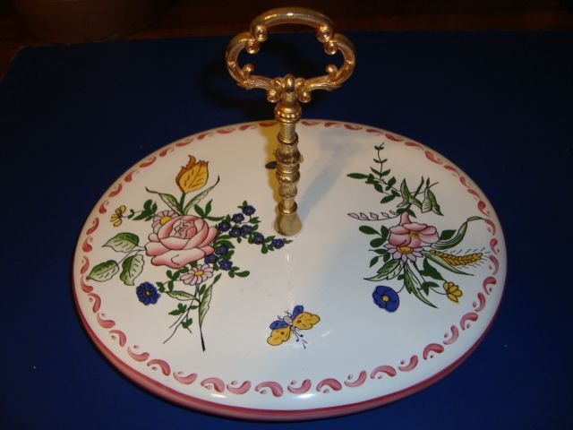French hand painted earthenware cheese platter signed by artist