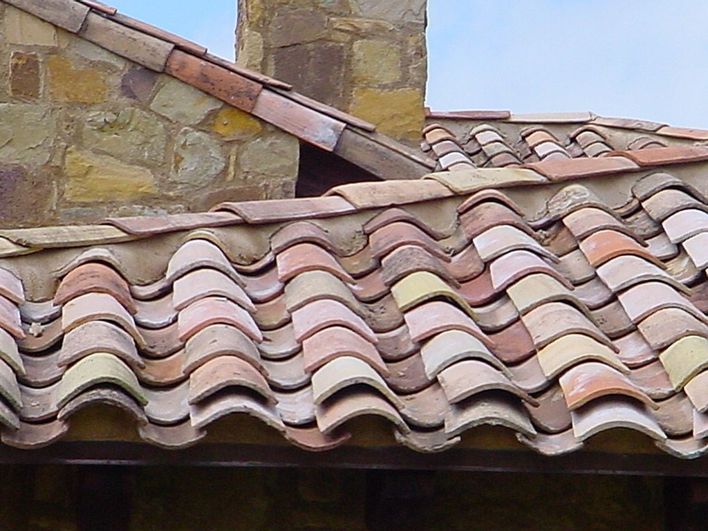 Antique terra cotta ROOF TILES from France circa 1820