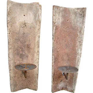 Set of 2 French antique roof tiles sconces, circa 1820