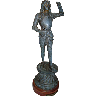 Statue of Joan of Arc, spelter and wood base, early 1900's