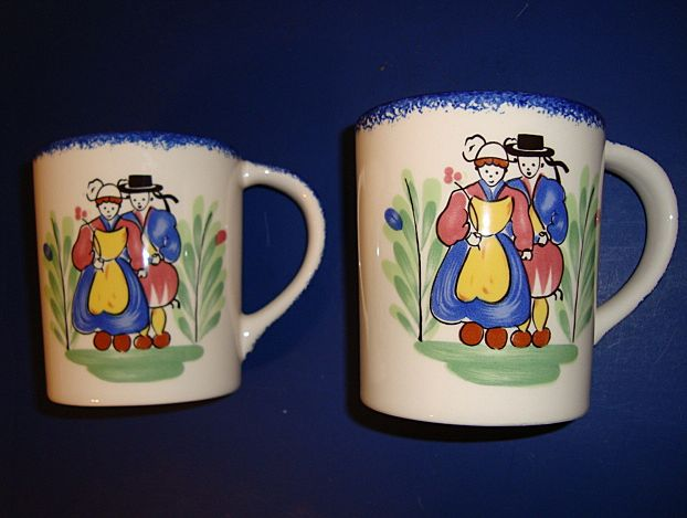 Pair French faience mugs made by Pornic