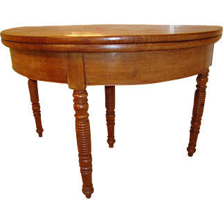 French Louis Philippe period Demilune table, solid fruit-wood, circa 1850