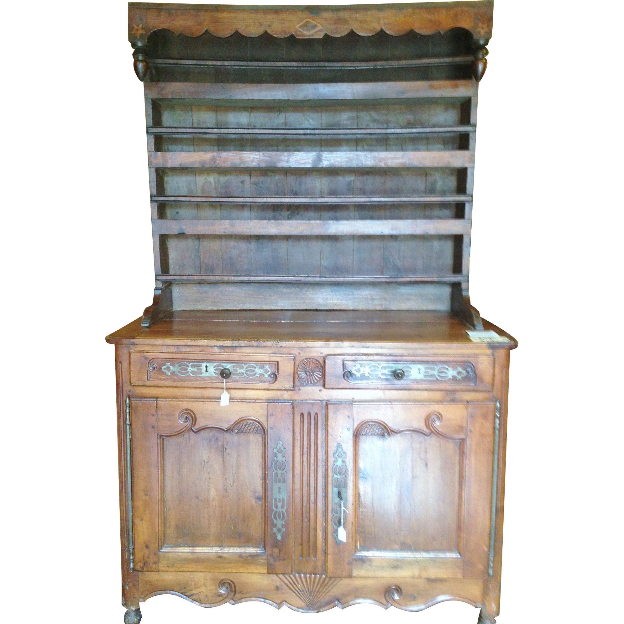french 18th century provincial carved louis xv hutch. Black Bedroom Furniture Sets. Home Design Ideas