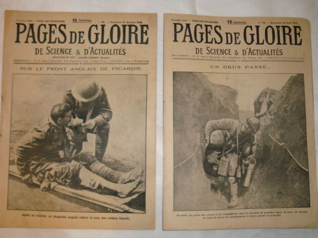 Set 2 Authentic French newspapers WWI 1916 Pages de Gloire