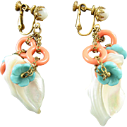 Vintage Miriam Haskell Mother-Of-Pearl Faux Turquoise Coral Flower Ring Earrings