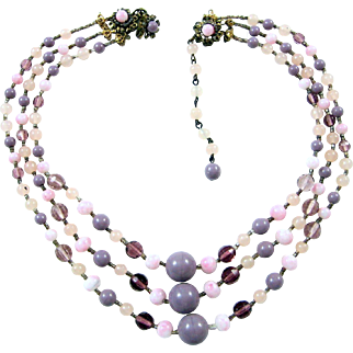 Early Miriam Haskell Vintage Jeweled Color 3 Strand Glass Drape Collar Necklace