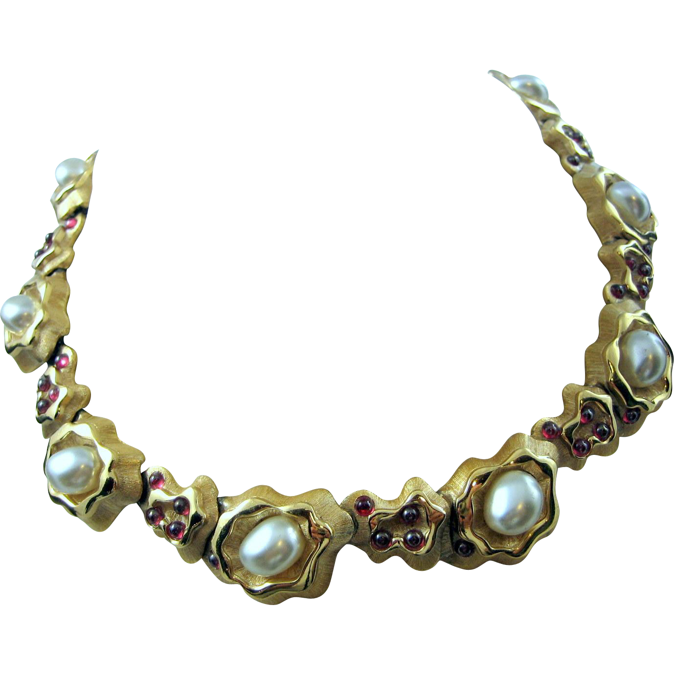 Tortolani Early Faux Pearl & Glass Red Cabochon Egyptian Revival Collar Necklace