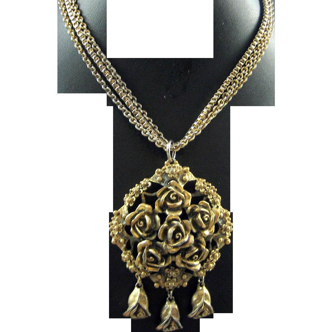 Early Tortolani Vintage Chunky Carved Rose Dangle Cast 3 Strand Pendant Necklace