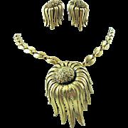 Vintage Tortolani Chunky Cast Unusual 3-D Flower Pendant Necklace & Earring Set