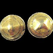 FREIRICH Vintage Unusual Elizabeth II Dei Gracia Regina Crushed Coin Earrings