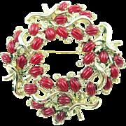 Kramer Vintage Red Melon Cut Cabochon Rhinestone Polished Cast Wreath Pin