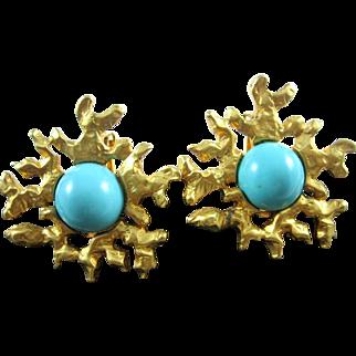 Les Bernard Vintage Faux Turquoise Cabochon Chunky Cast Etruscan Earrings
