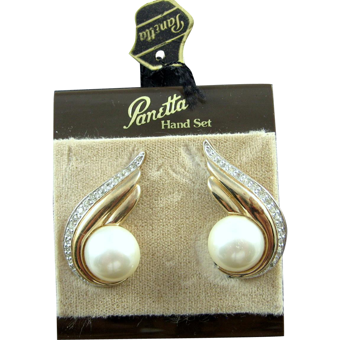 Panetta Vintage Faux Pearl Cabochon Crystal RS Elliptical Earrings Card & Tag
