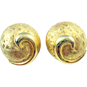 Hattie Carnegie Vintage Chunky Crosshatch Engraved Elliptical Dome Earrings
