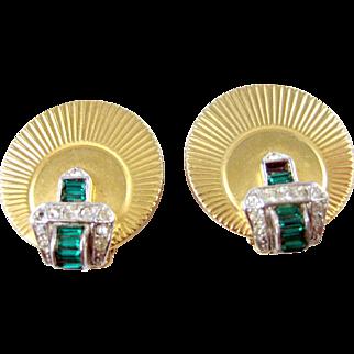 Marcel Boucher Vintage Art Deco Green Baguette Crystal RS Belt Buckle Earrings