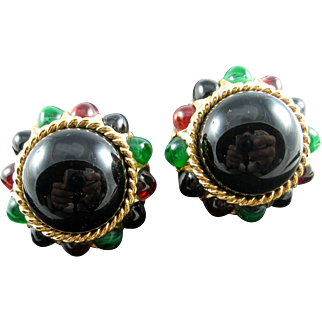 Ciner Bold Vintage Egyptian Revival Black Cabochon Jeweled Glass Chunky Earrings