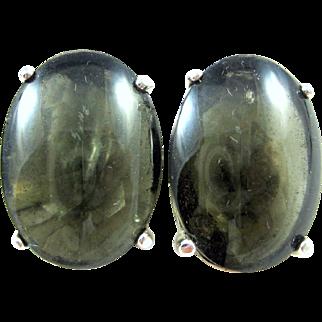 Schiaparelli Vintage Translucent Green Glass Cabochon Prong Open Back Earrings