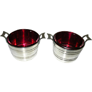 Pair Antique Bucket Shaped Cranberry Glass Salts