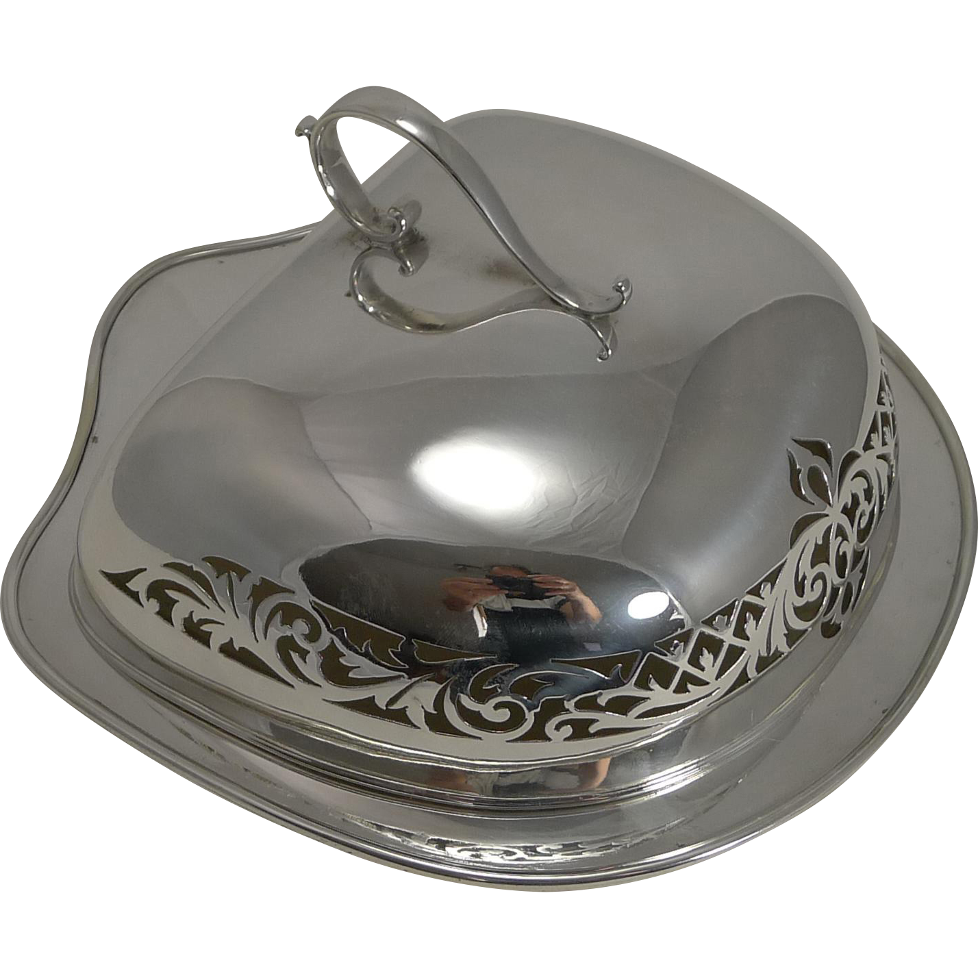 Antique Scottish Silver Plate and Glass Cheese Dish and Cover c.1900