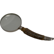 Grand Silver and Antler Horn Handled Magnifying Glass - 1891