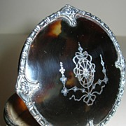 Vintage Tortoise Shell and Silver Pique Jewelry or Trinket Box