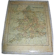 Antique Lithograph Map of England and Wales by George Philip & Son Ltd.