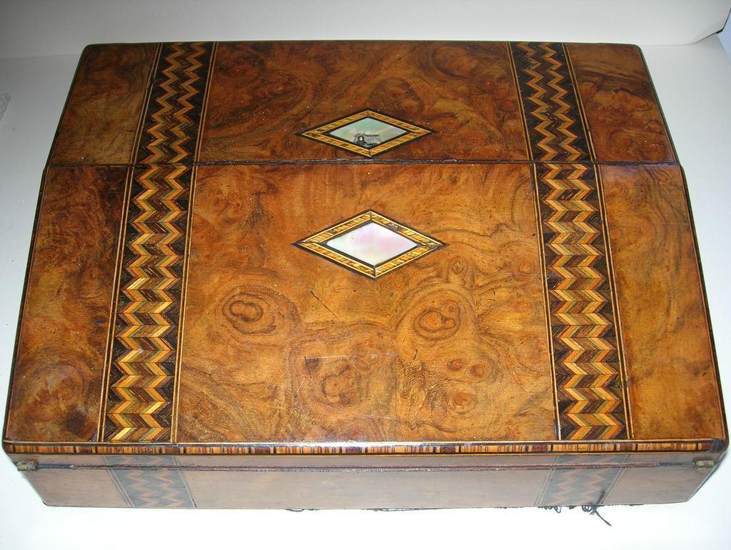 Antique Burl Walnut and Tunbridge Ware Inlaid Lap Desk / Writing Box - Antique Burl Walnut And Tunbridge Ware Inlaid Lap Desk / Writing