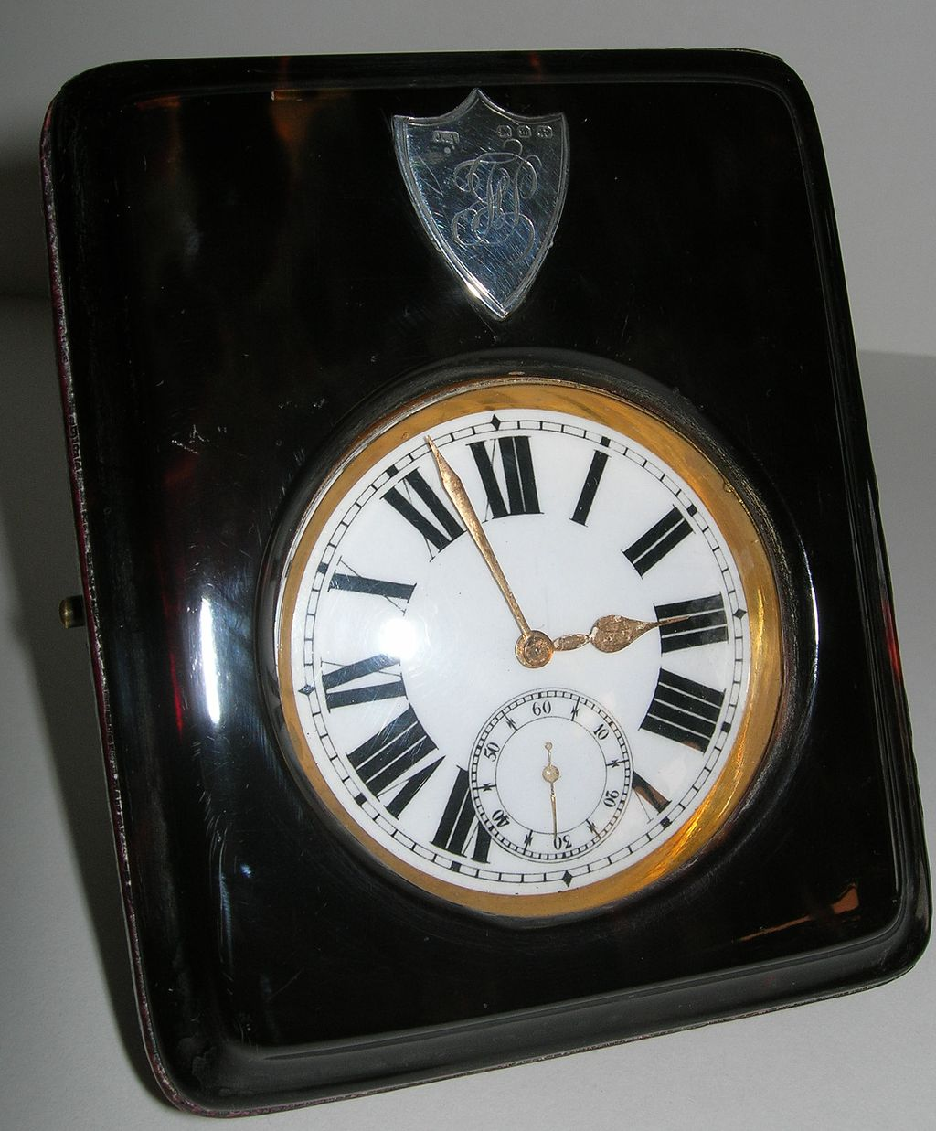Handsome Antique Travelling Pocket Watch In Case - Tortoise Shell