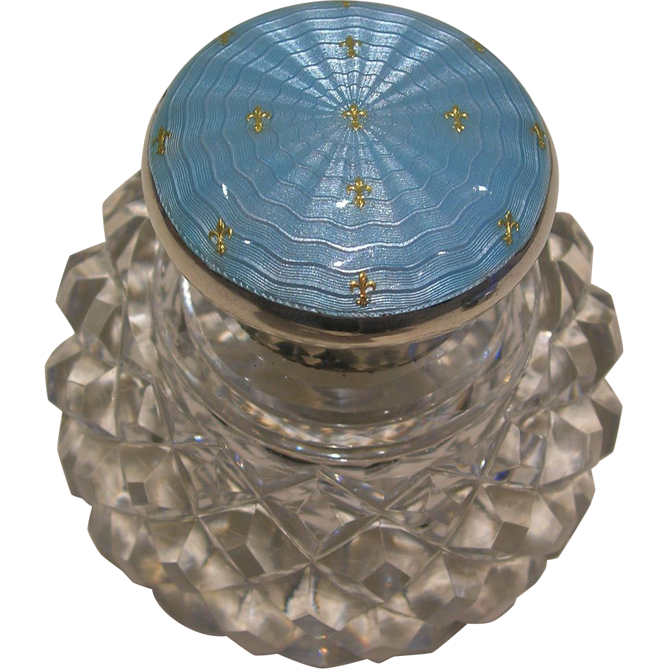 Stunning Sterling Silver and Enamel Topped Inkwell - 1913