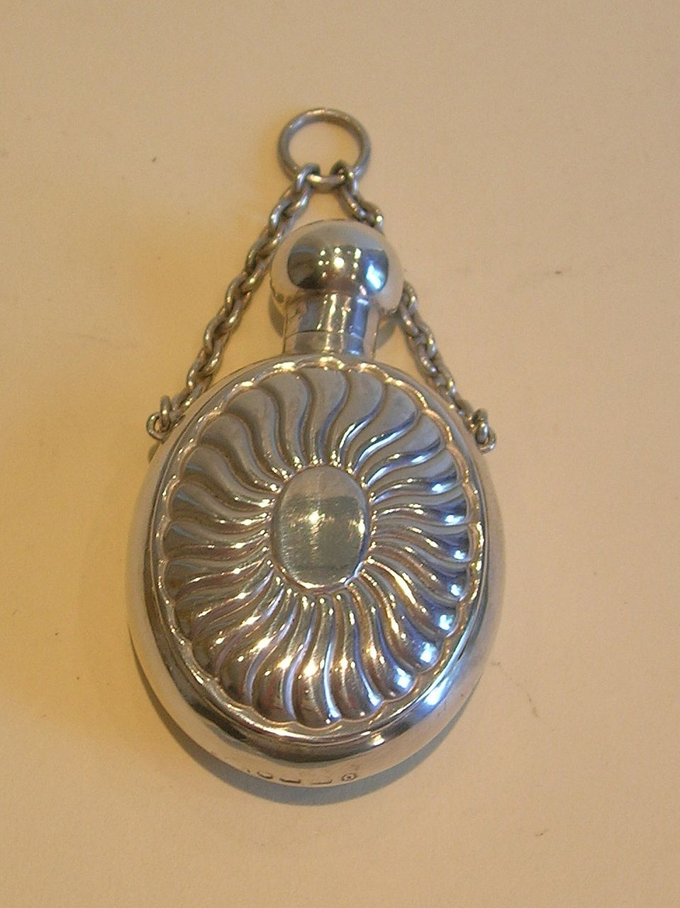 Elegant Antique English Sterling Silver Chatellaine Perfume or Scent Bottle