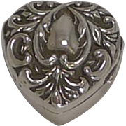 Antique English Heart Pill Box In Sterling Silver - 1898
