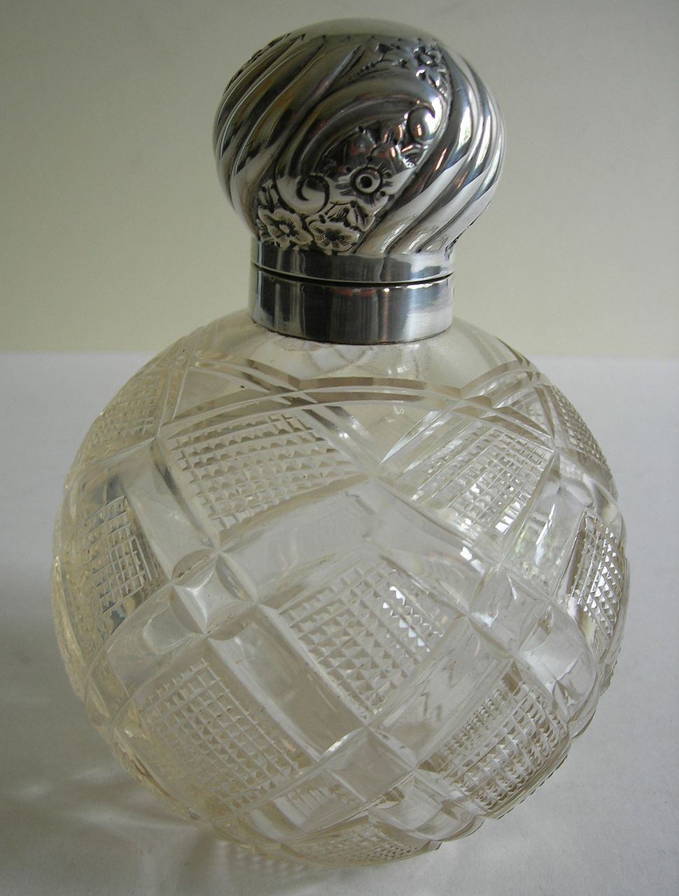 Large Antique English Cut Crystal & Sterling Silver Perfume Bottle / Globe