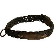 Victorian English Leather and Steel Dog Collar - Unusual Woven Form