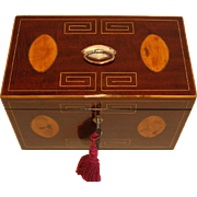 George III English Inlaid Mahogany Tea Caddy c.1820