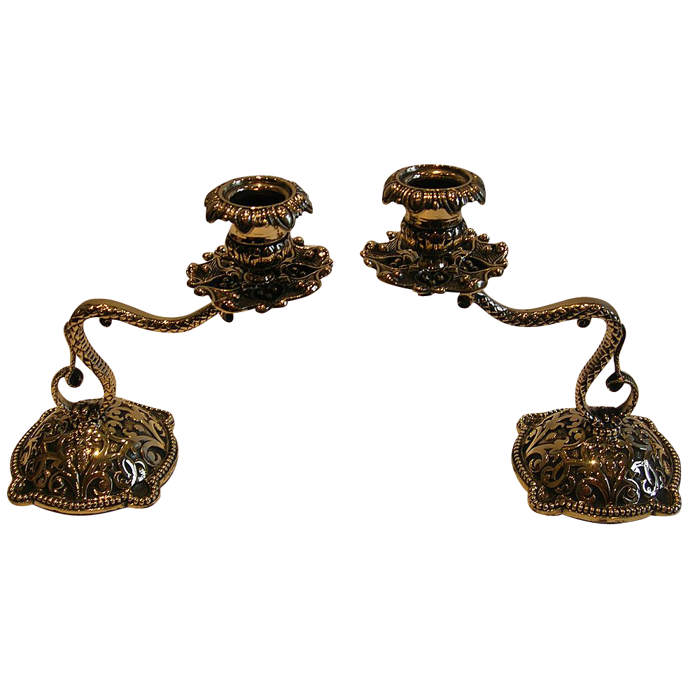 Fabulous Antique English Cast Brass Serpentine Candlesticks c.1890