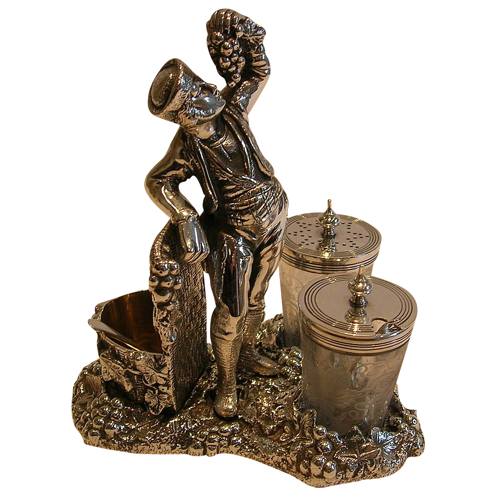 Fabulous Figural Wine Related Cruet Set - Registered 1871