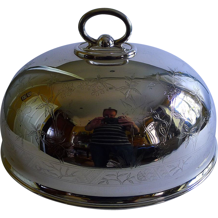 Unusual Floral & Foliate Engraved Meat / Food Dome With Birds by Walker & Hall