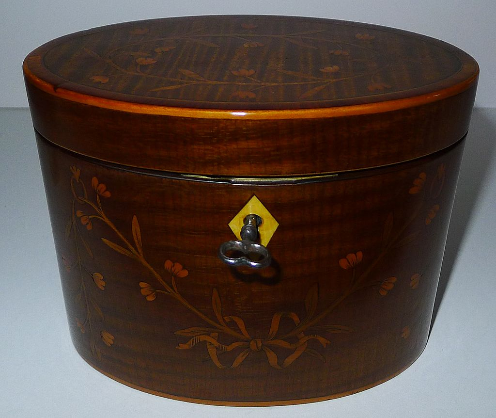 Stunning Antique English Inlaid Harewood Tea Caddy c.1790