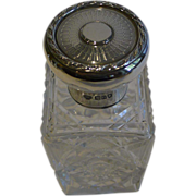 Handsome English Cut Crystal & Sterling Silver Perfume or Scent Bottle - 1915