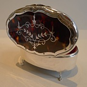 Large Sterling Silver & Tortoiseshell Jewelry Box - Pique Inlaid