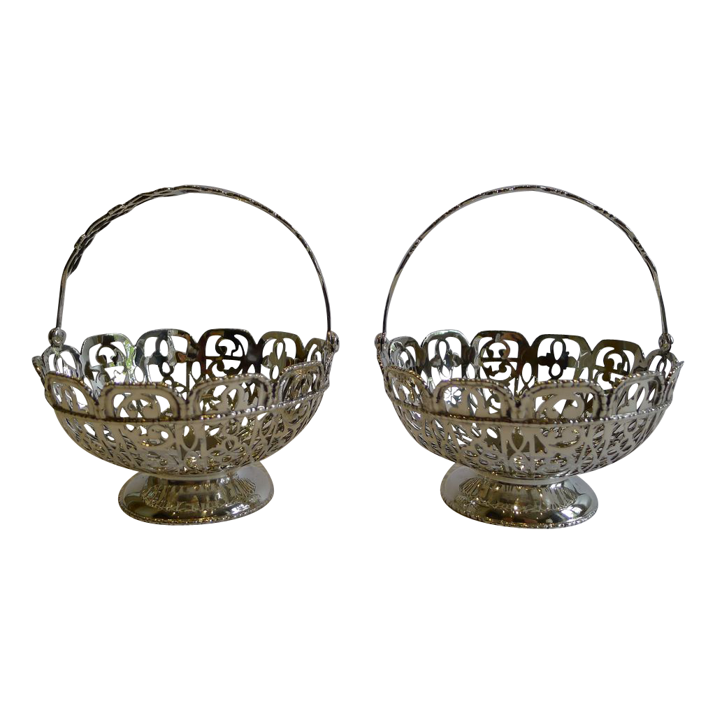 Stunning Pair Antique Sterling Silver Baskets - Chester 1907