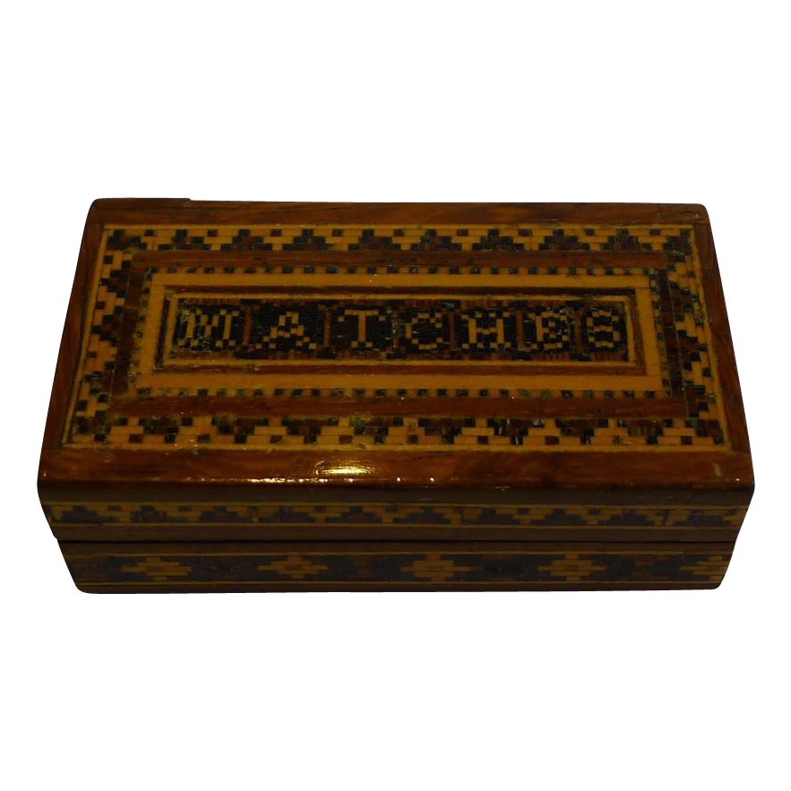 Antique English Tunbridge Ware Matches Box / Vesta c.1870