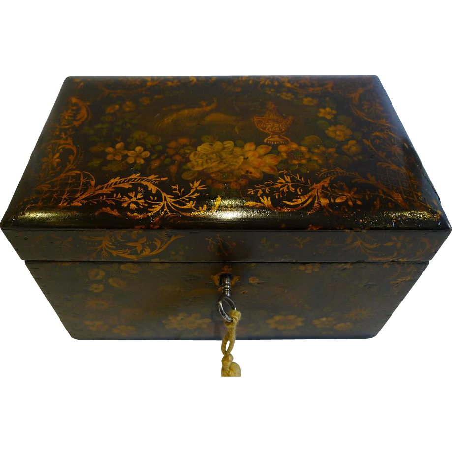 Antique English Painted Papier Mache Tea Caddy c.1850