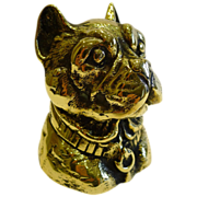 Antique English Figural Brass Inkwell - Dog - French Bulldog, c.1880