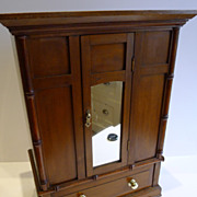 Charming Antique English Pine, Satin Birch Doll's Wardrobe c.1900